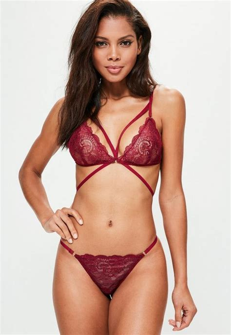 strappy lace triangle bra burgundy missguided