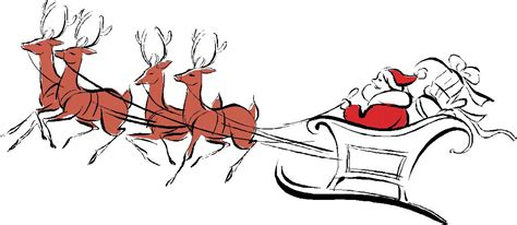 christmas santa and reindeer clipart clipart suggest