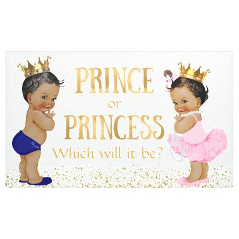 Princess Baby Shower Banner by Ethnic Prince Princess Gender Reveal Baby Shower Banner