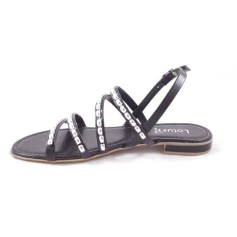 black flat strappy shoes lotus black open toe flat strappy sandals lotus from