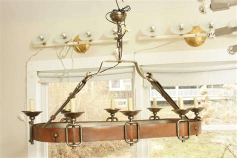 Chandelier Pot Rack Iron And Leather Pot Rack Chandelier At 1stdibs