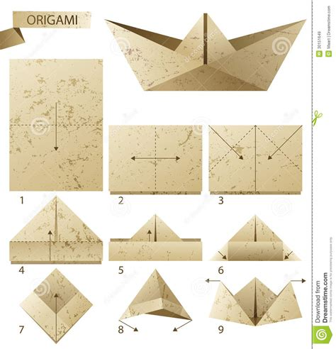 Steps To Paper - paper boat stock vector illustration of folded leisure