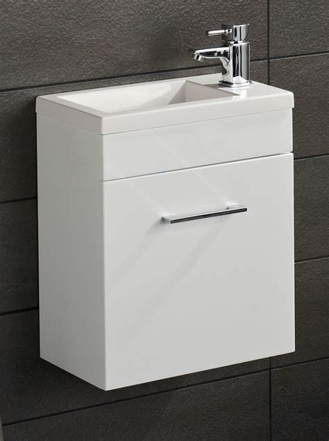 lomond gloss white 400 wall hung cloakroom vanity unit