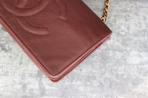 Chanel 1606 Leather chanel brown caviar leather vintage woc wallet on chain