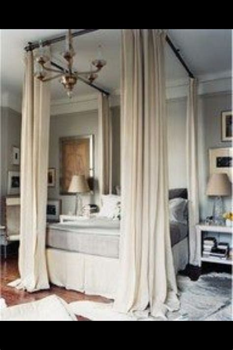 make a bed canopy with curtain rods mock canopy bed made with curtain rods the m a s t e r