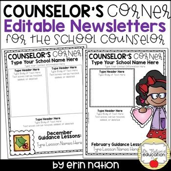 Editable School Counselor Newsletter Templates By Dr Nation S Education Free Newsletter Templates For School Counselors