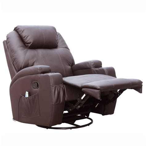 Nursing Recliner by Cinemo Brown Leather Recliner Chair Rocking Swivel Heated Gaming Nursing