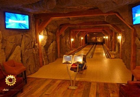 residential bowling alley in basement home