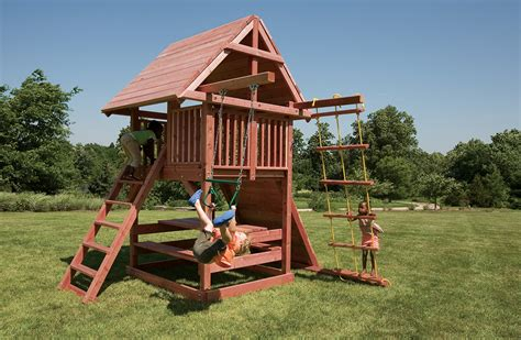 wood swing set best small swing sets for smaller backyards juggling act