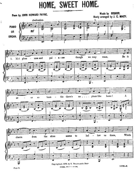 home sweet home sheet music page 1 macy version page 2