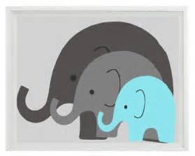 Elephant Nursery Wall Decor by Elephant Nursery Wall Print Baby Family Aqua