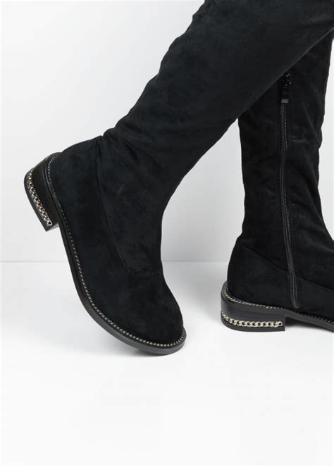 xw37268 black chain suede the knee boots from lu boo