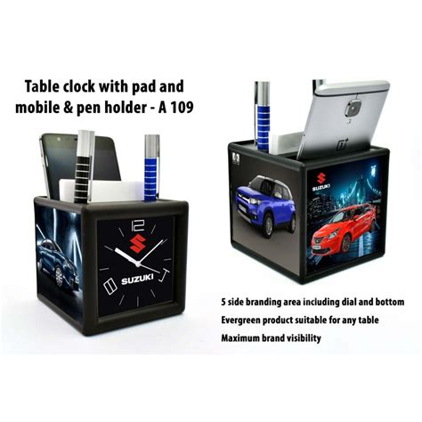 Holder Mobil Univ 2 Frame M Sahmou2fms a109 table clock with pad and mobile pen holder