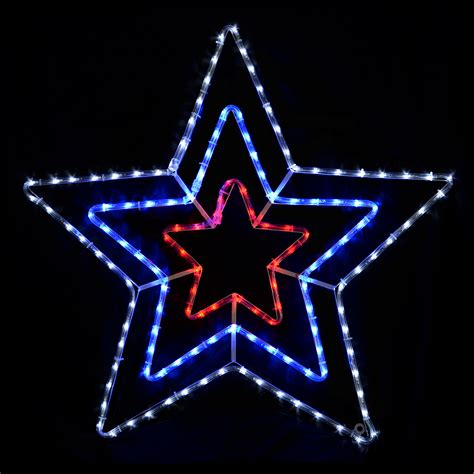 chasing red blue white triple star rope light indoor