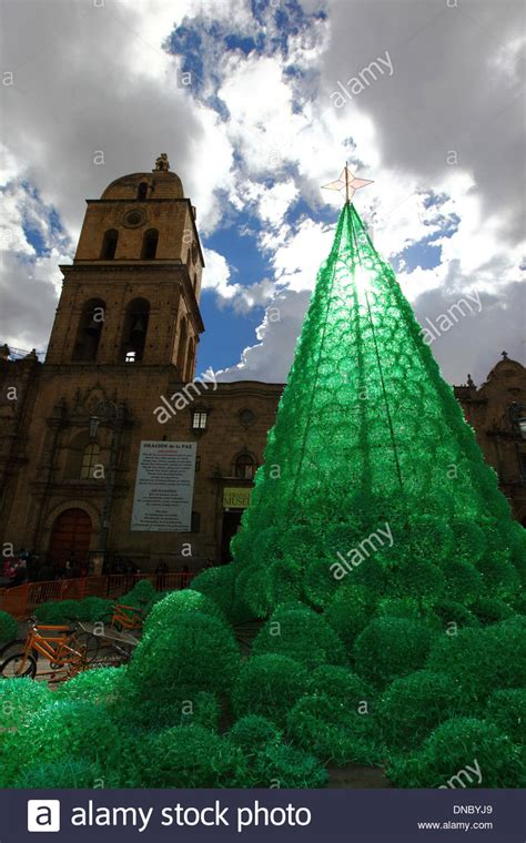 ecological christmas trees la paz bolivia 21st december 2013 an ecological tree stock photo royalty free