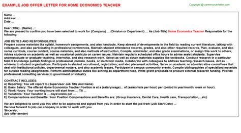Home Economist Cover Letter by Home Economics Offer Letter Sle