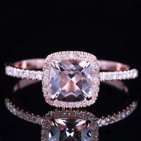 Morganite 2ct pave diamond solid 10k rose gold engagement ring ebay
