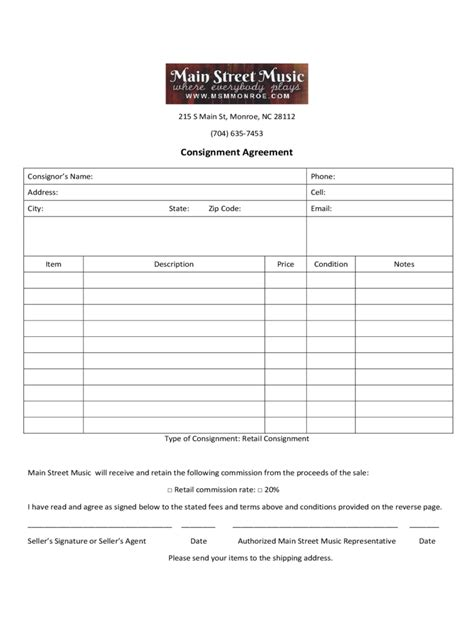 consignment template free consignment agreement form 7 free templates in pdf word