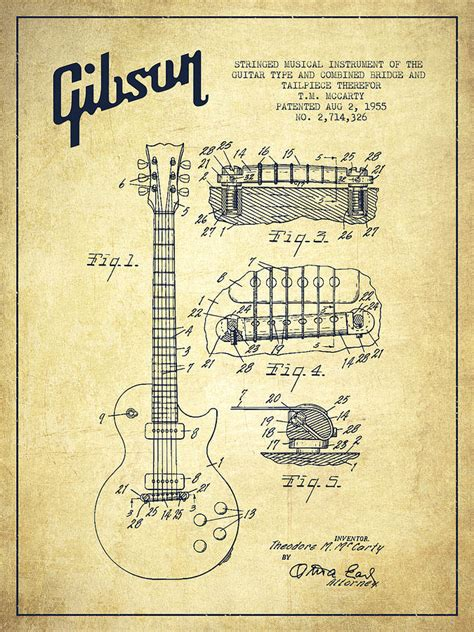 Draw Blueprints Online mccarty gibson les paul guitar patent drawing from 1955