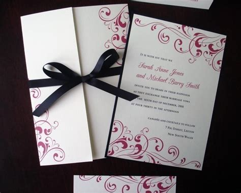 tying ribbon for wedding invitations black tie formal wedding invitation fuchsia