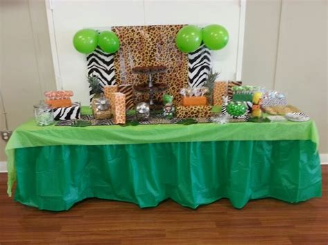 jungle theme baby shower table decorations jungle baby shower dessert table for more safari baby