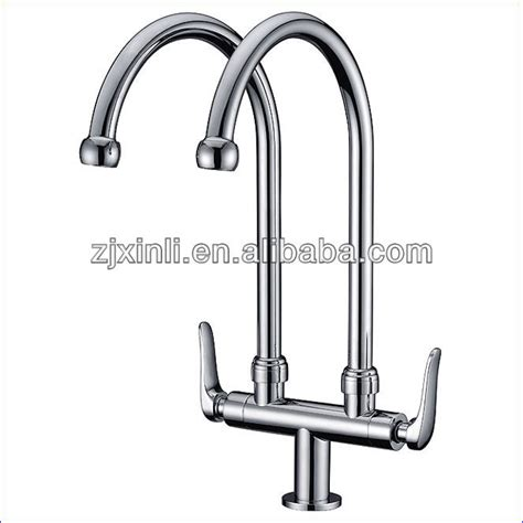 free shipping brass chrome luxury kitchen faucet deck popular double spout faucet from china best selling double