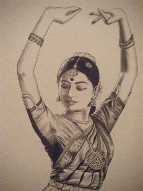 pencil sketch   bharatanatyam dancer dance pencil