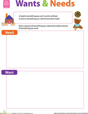 Needs And Wants Worksheets by Wants And Needs Worksheet Education