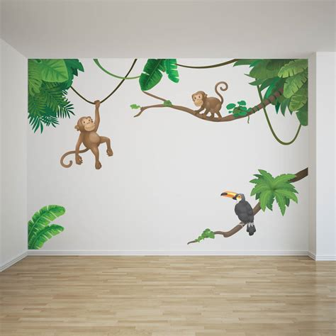 wall stickers jungle jungle monkey children s wall sticker set by oakdene
