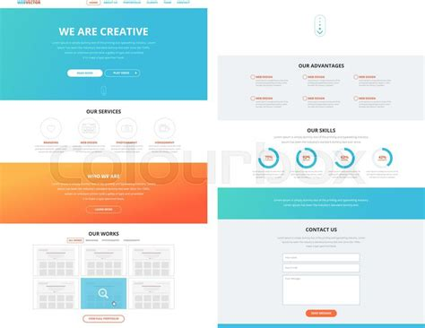 One Page Website Design Template In Flat Design Style For Web Development Business Concept Website Design Strategy Template