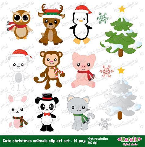 christmas animals animated animals digital clip set reindeer cat