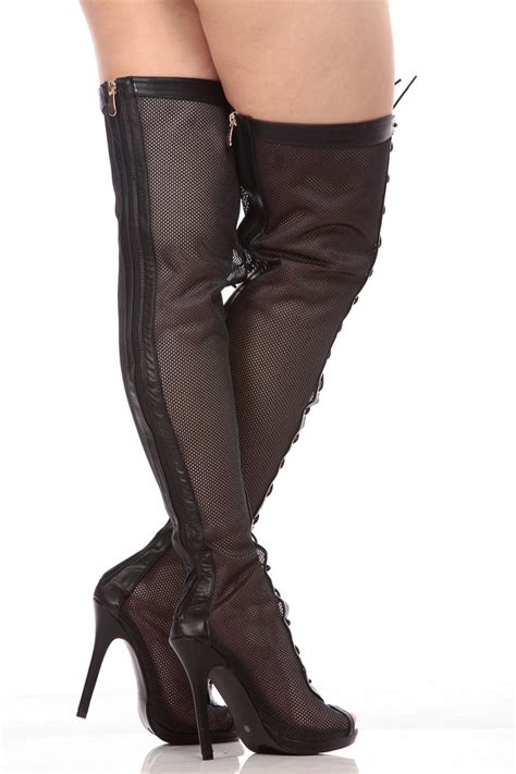 black netted peep toe thigh high boots cicihot boots