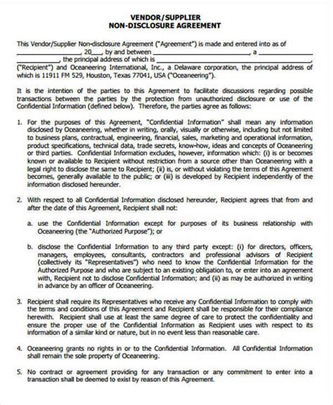 supplier confidentiality agreement template 9 vendor confidentiality agreements free sle