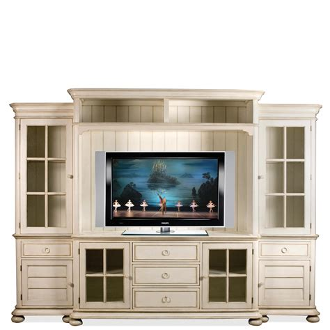 Wall Units With Glass Doors Riverside Furniture Placid Cove Entertainment Wall Unit With Panel Glass Doors Hudson S