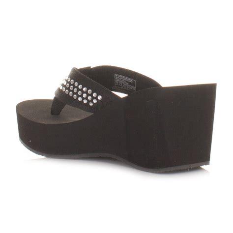 womens skechers pin up black wedge heel flip flop