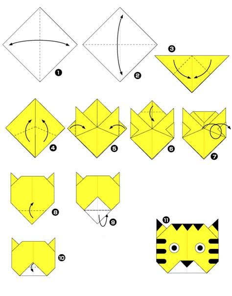 How To Make A Paper Bom - origami caras de animais tigre perspectivas do olhar