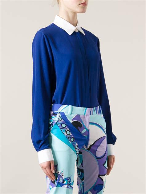 Collar Shirt 1 lyst emilio pucci contrast collar shirt in blue