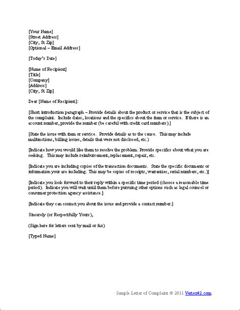 Business Letter Format For Junior High Free Complaint Letter Template Sle Letter Of Complaint