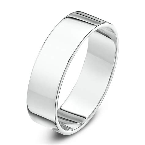18kt white gold heavy flat 7mm wedding ring