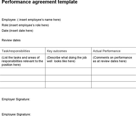 27 Hr Strategy Templates Free Download Employee Performance Agreement Template Free