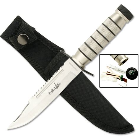 kit knives silver stainless steel blade survival knife and kit