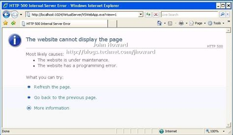 http 500 errore interno server http error 500 from server admin site mstsc