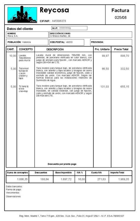 descargar plantillas facturas servicios profesionales factura espa 241 a modelo factura