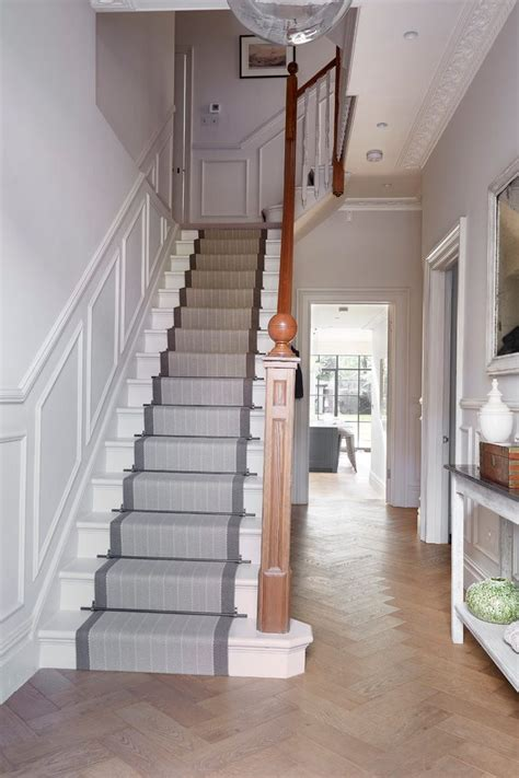 Metal Landing Banister And Railing Stair Runner Ideas Staircase Traditional With Entrance