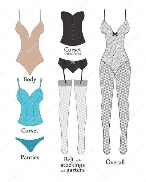 types of types of lingerie vector illustration flat stock