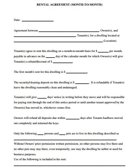 Template For Room Rental Agreement 5 Room Rental Agreement Form Templates Formats Examples