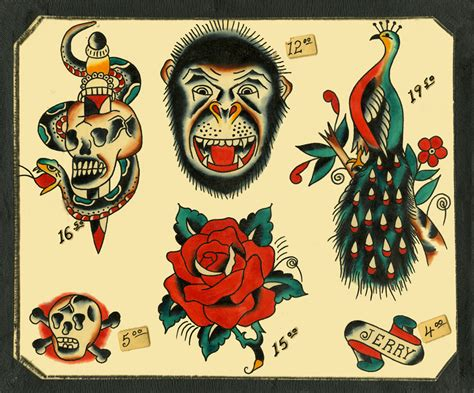 tattoo flash speedboys 1963 vintage traditional flash