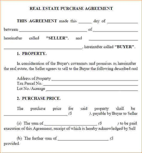 purchase agreement contract simple sales contracts sales