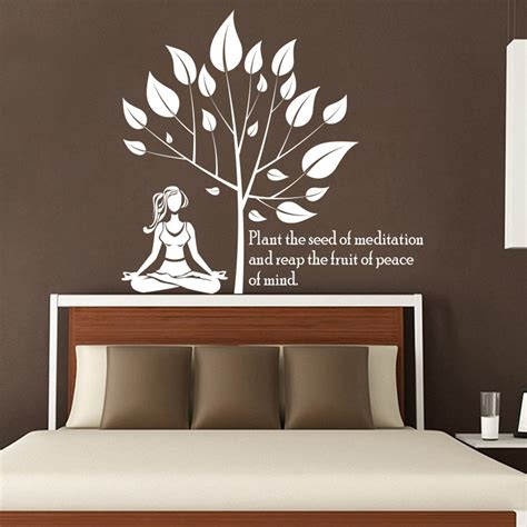 home interiors wall decor the seed of meditation lotus tree yoga wall decal vinyl
