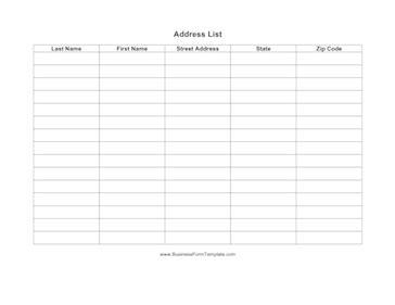 Name And Address List Template Address List Template